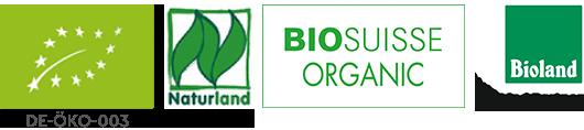 Logos des certifications bio UE, Naturland, Biosuisse Organic et Bioland